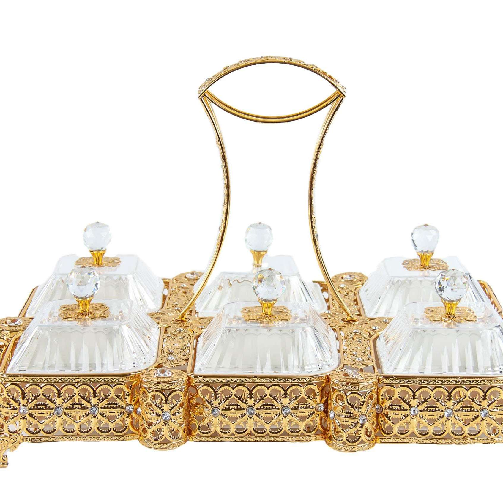Ornate Party Tray Rectangular Gold Embroidery Serving Tray 6 Bowls With Lids 52c