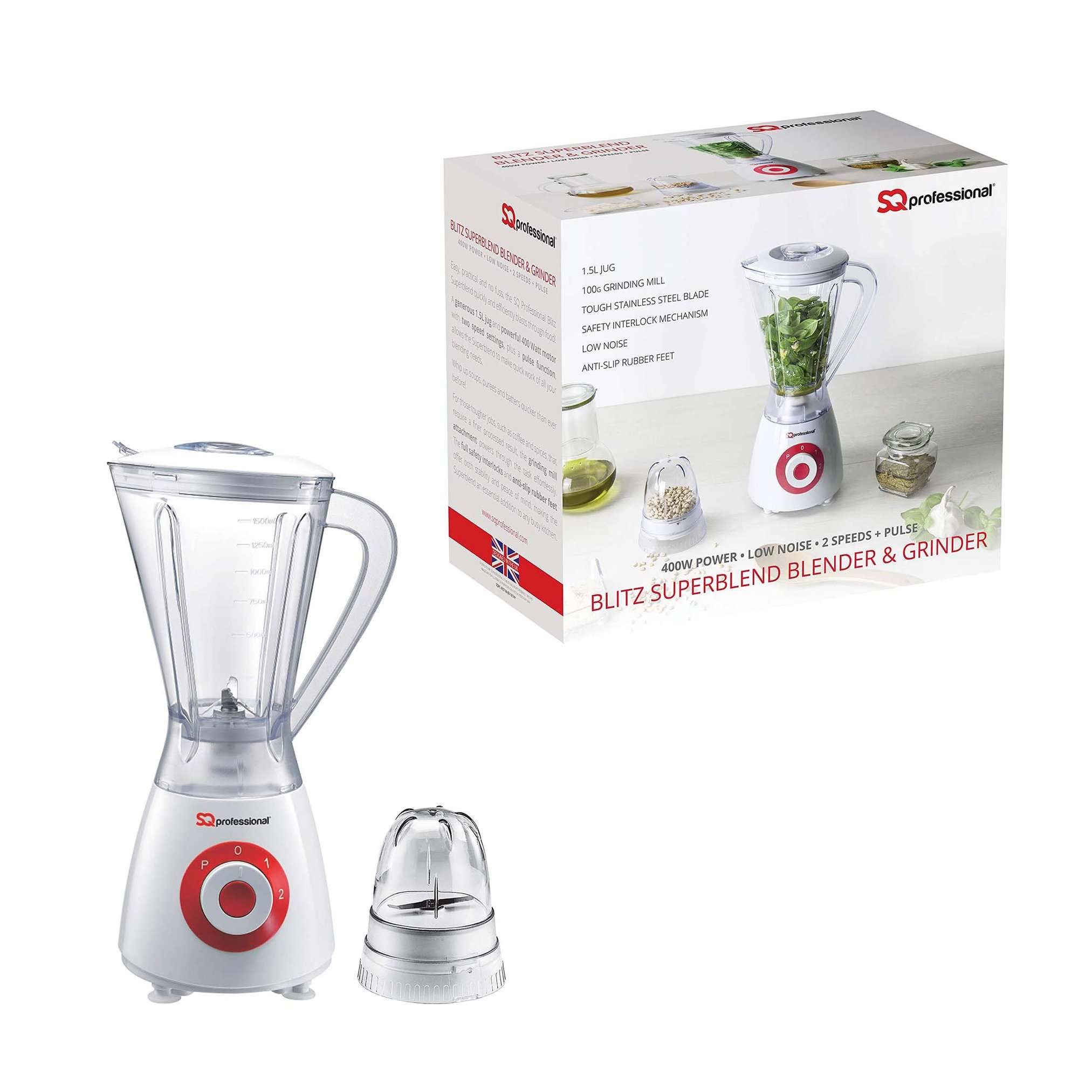 Superblend Blender And Grinder Low Noise 2 Speeds + Pulse 1.5L Jug 400W RED 4157