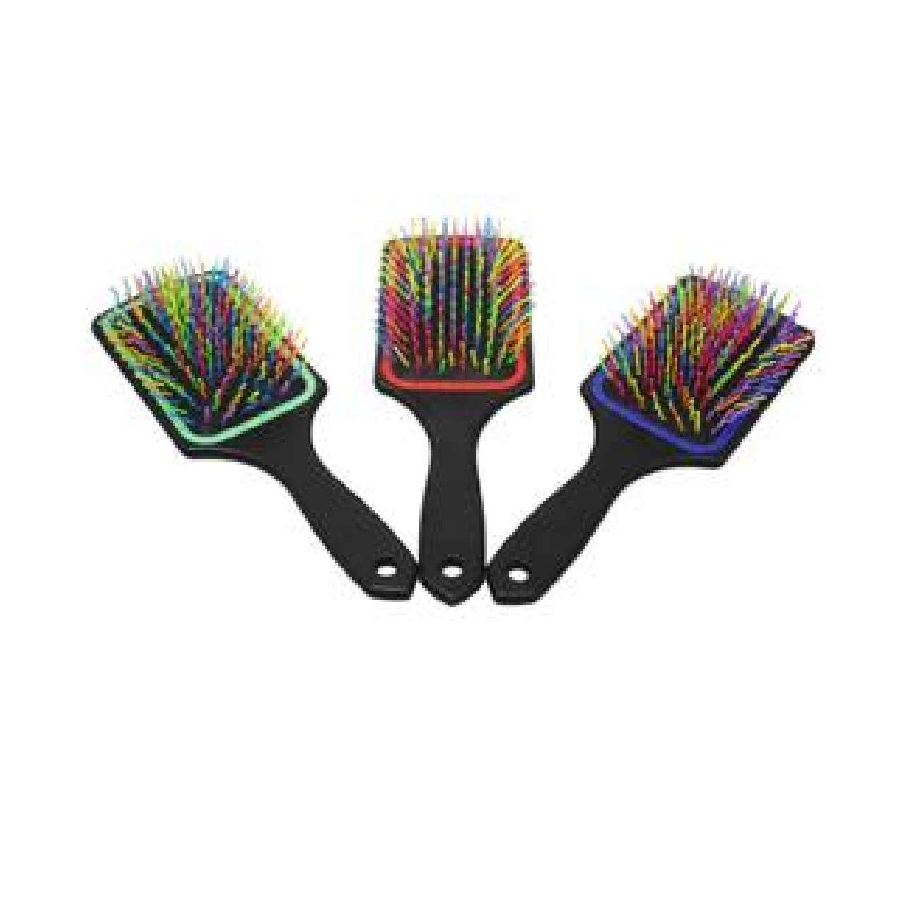 1 Frizzly Hair Brush Mens Ladies Tangle Free Multicoloured Hair Brush 24cm x 8cm