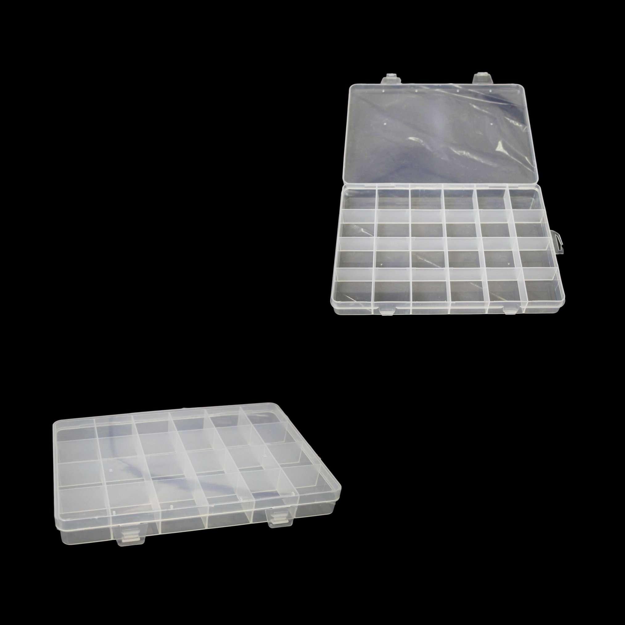 24 Plastic Compartment Box Small Organiser Storage Craft Box 19cm x 13cm 2035 (P