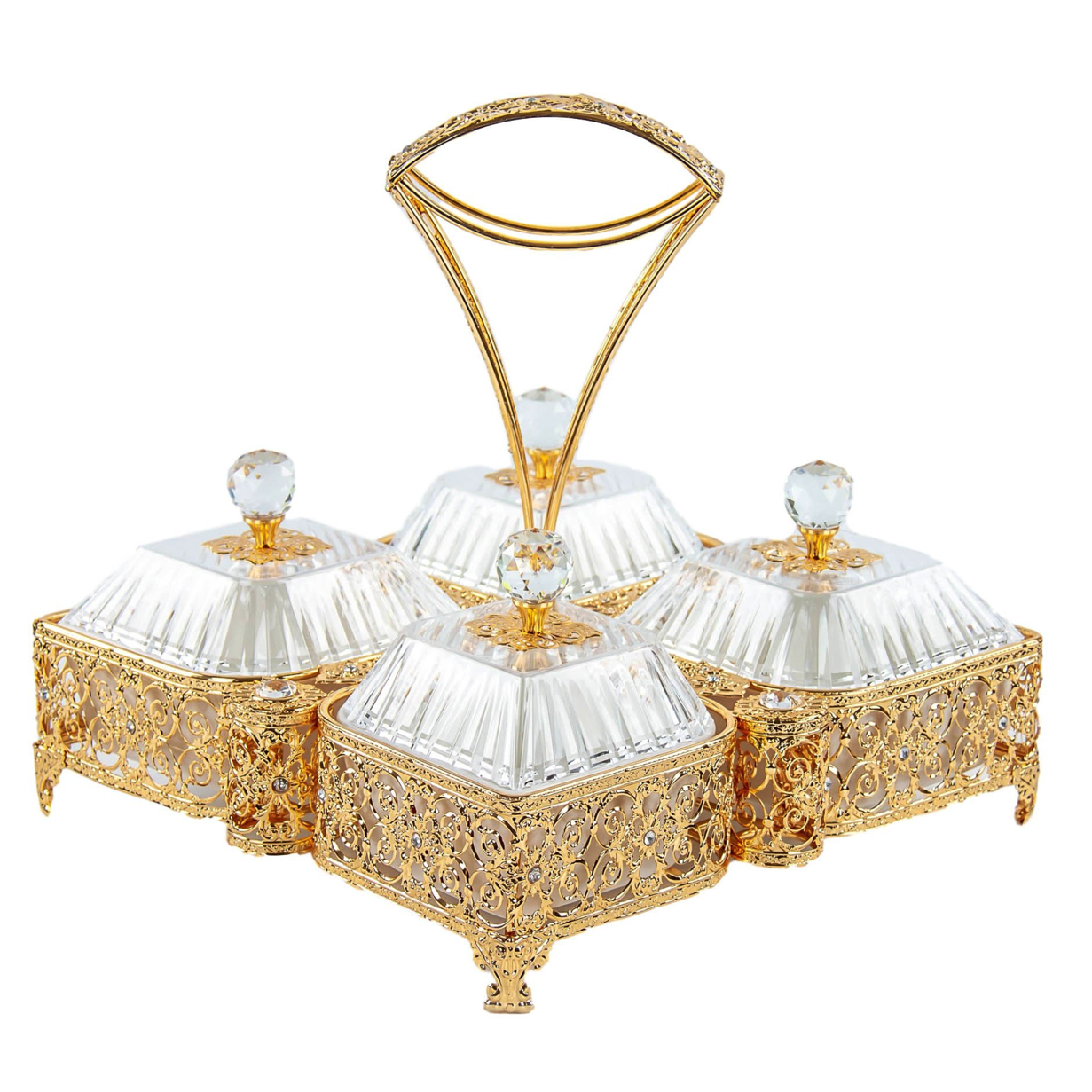 Ornate Party Tray Square Gold Set Serving Tray Gold Embroidery 4 Bowls With Lids