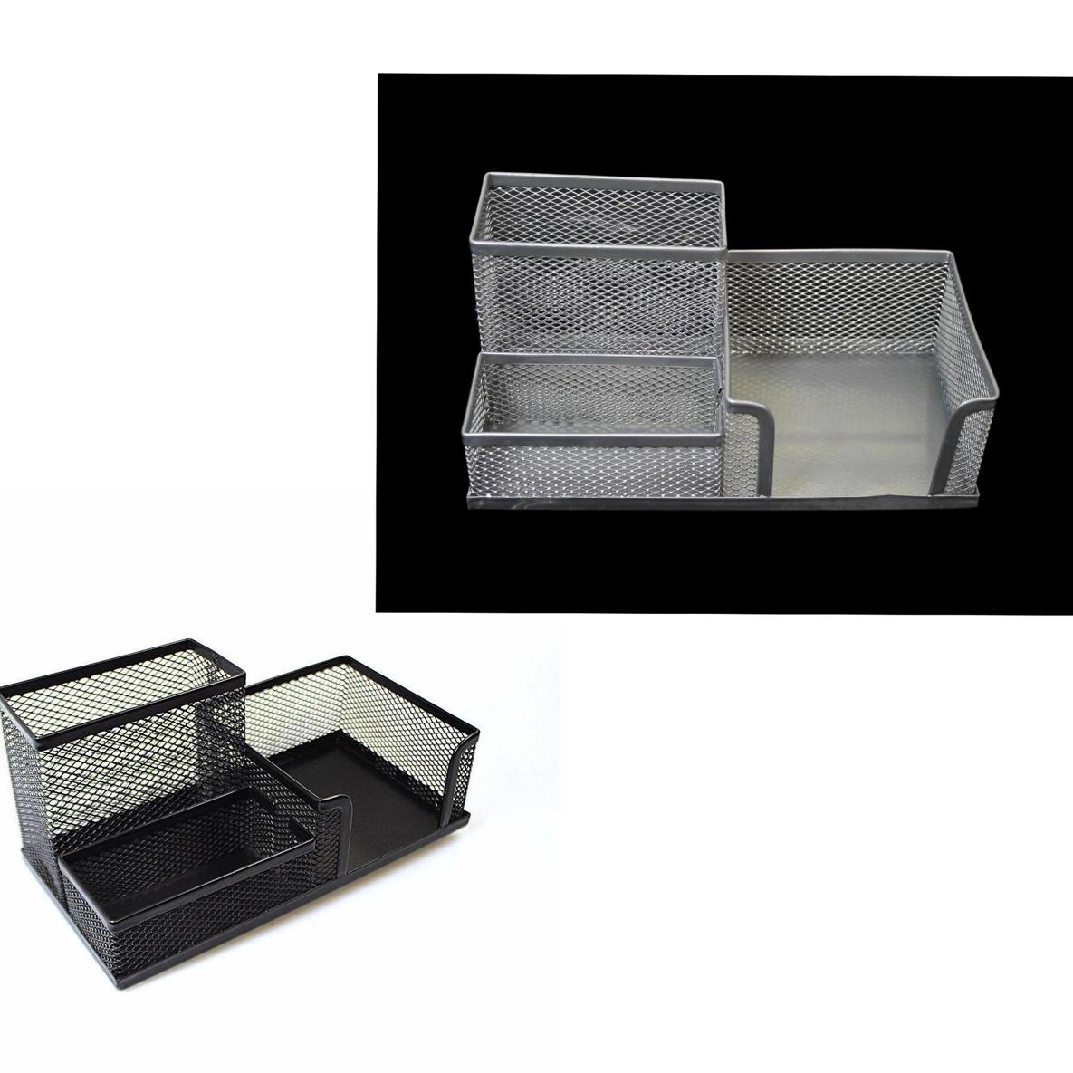 Mesh Desk Organiser Pen Pencil Stationery Holder Black/ Silver Desk Organiser 00