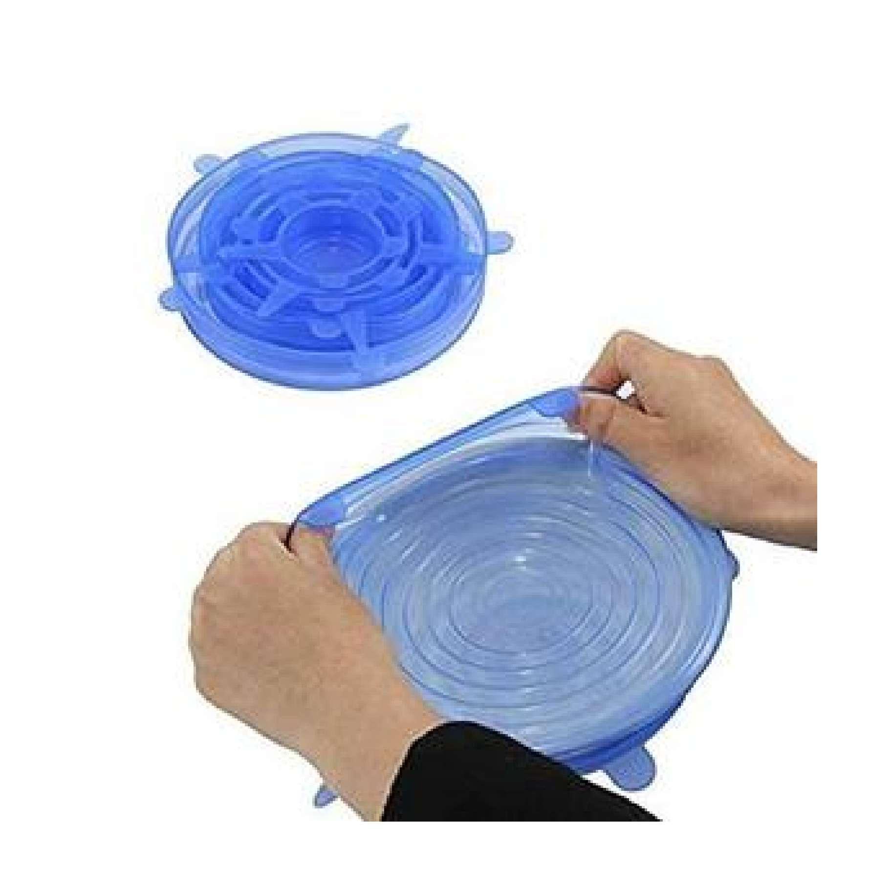 Microwave Safe Silicone Stretch Lids Flexible Bowl Covers 6-Piece Transparent