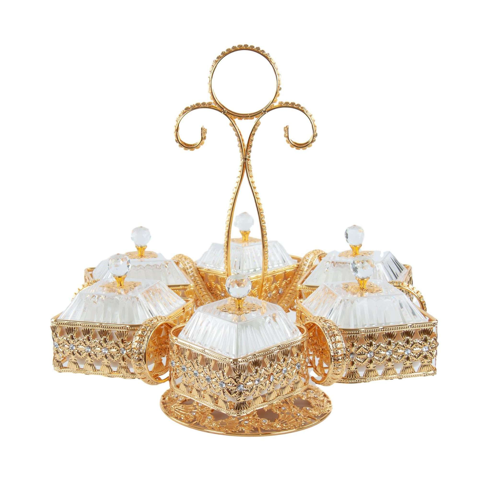 Ornate Rotating Party Tray Beautiful Glass And Gold Embroidery Tray 7 Piece 55cm